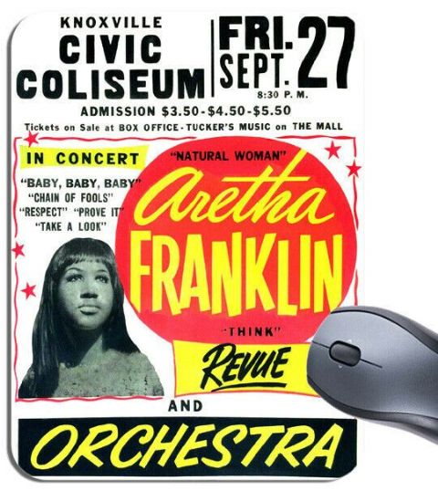 Aretha Franklin Revue Concert Poster Mouse Mat Knoxville High Quality Mouse Pad